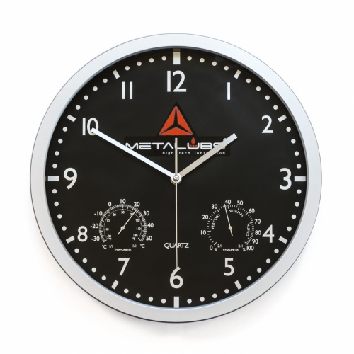 Round wall clock (black background)