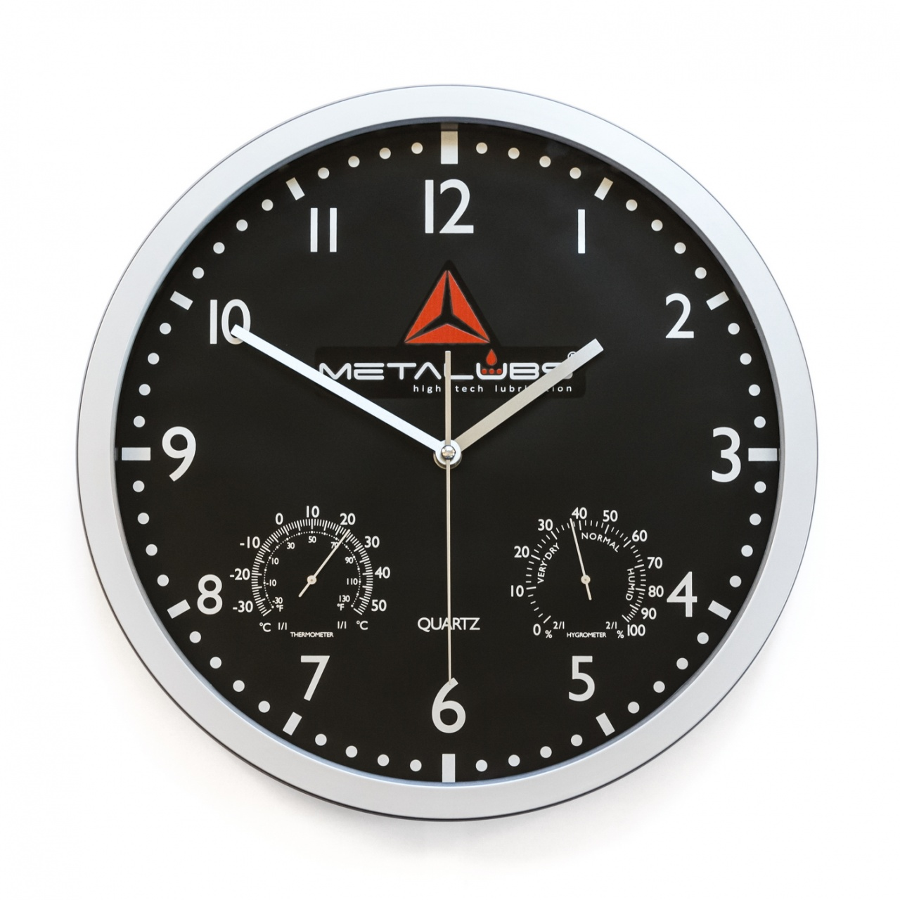 Round wall clock (black background)